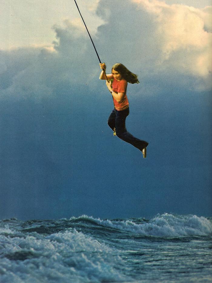 Girl rope ocean