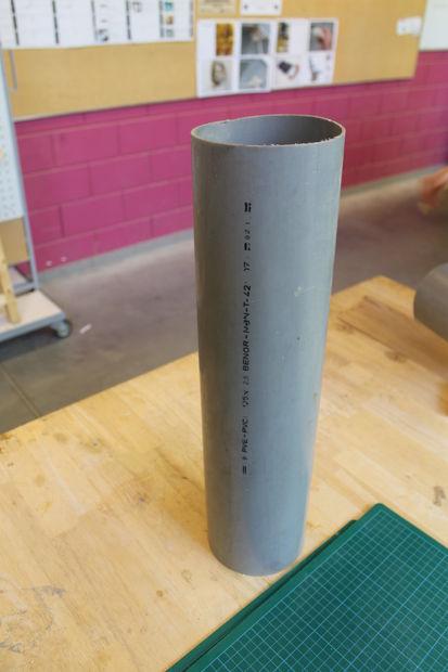 Making V-box: deforming PVC tube